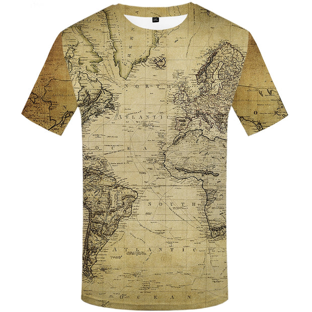 world map printed tshirt