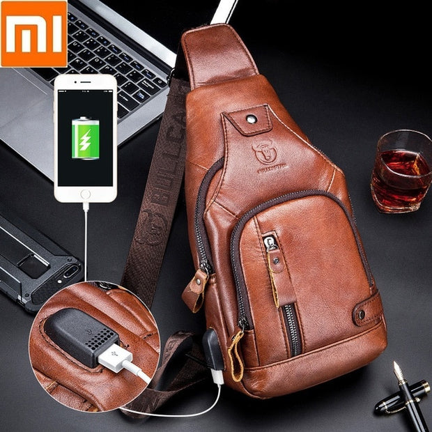 Men trend chest bag top layer USB charging  bag