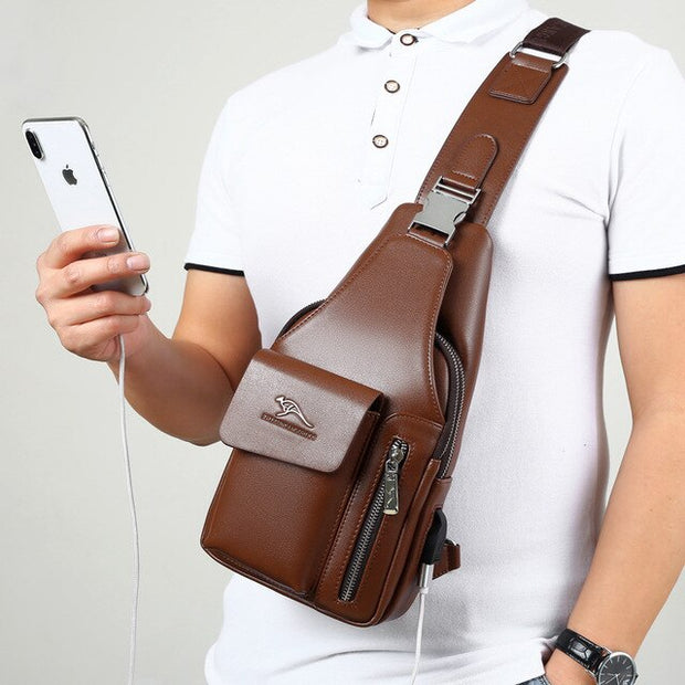 Men Chest Bag Shoulder Casual Cowhide Leather Large Capacity USB Charging
