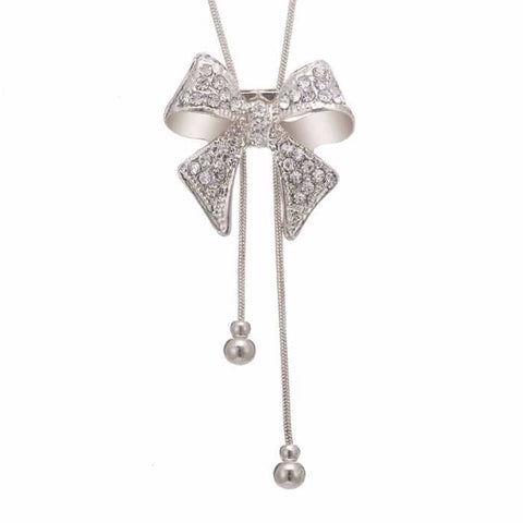 Silver Bow Necklace for Women