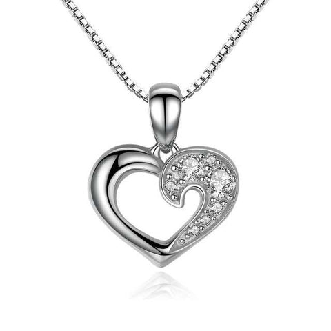 Open Heart Necklace - Sterling Silver Necklace for Her