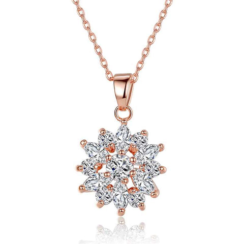 snow flake necklace in rose gold