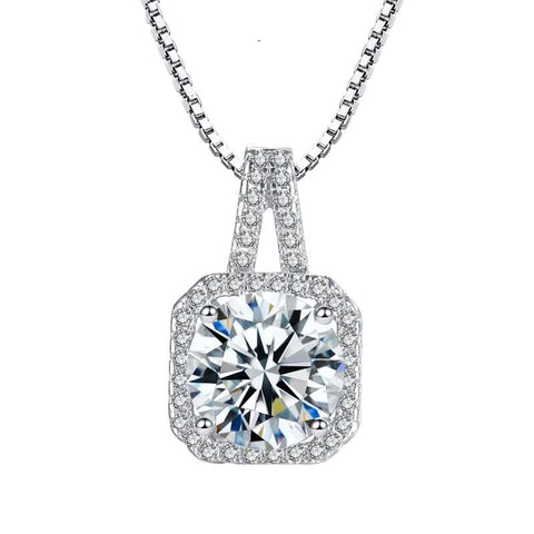 Square Cubic Zirconia Necklace in Sterling Silver