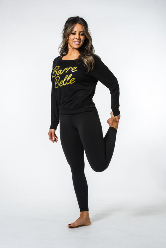 Off the Shoulder Belle Long Sleeve Tee | Black