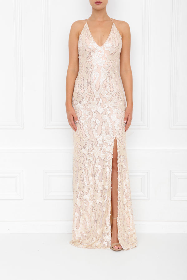 GIA PLEATHER SEQUIN MAXI PEARL BLUSH FRONT 7X0A8429
