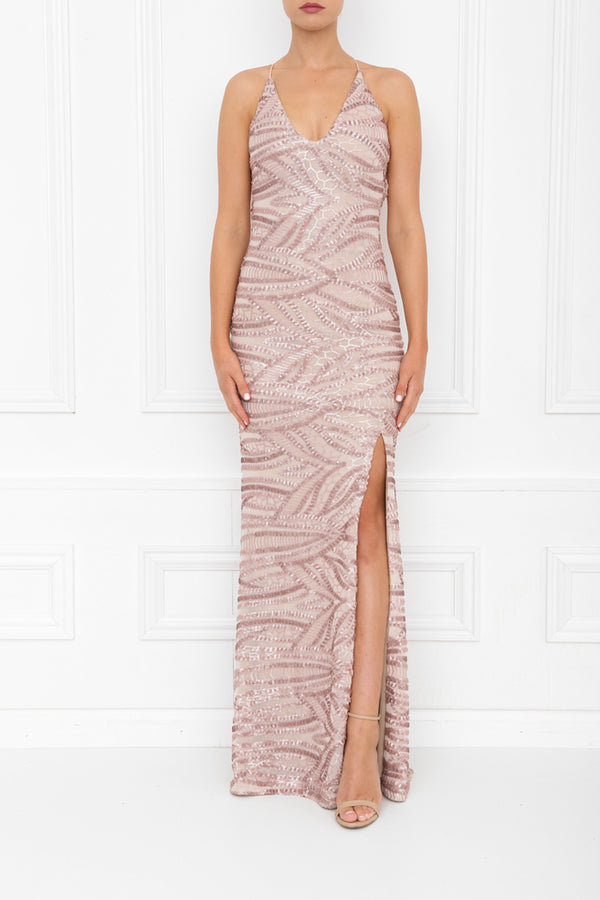 GIA SEQUIN MAXI ROSE PINK FRONT 7X0A8438
