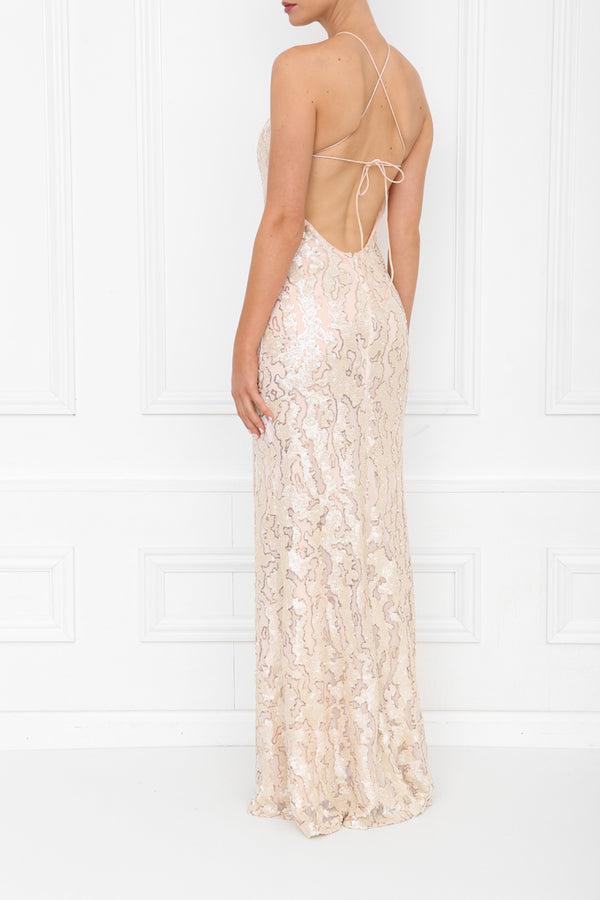 HARLEY GIA PLEATHER SEQUIN MAXI PEARL BLUSH SIDE BACK 7X0A8426