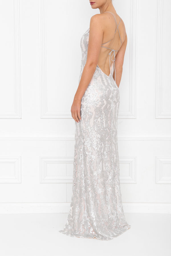HARLEY GIA PLEATHER SEQUIN MAXI SILVER BLUSH SIDE BACK 7X0A8416