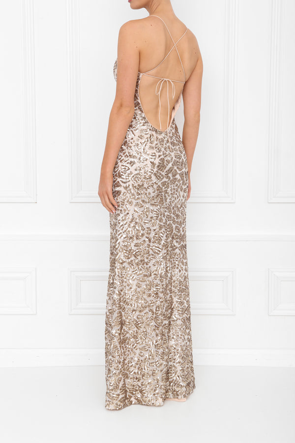 HARLEY GIA SEQUIN MAXI GOLD SPARKLE SIDE BACK 7X0A8450