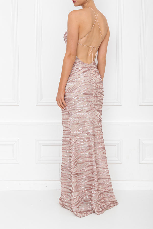 HARLEY GIA SEQUIN MAXI ROSE PINK SIDE BACK 7X0A8435