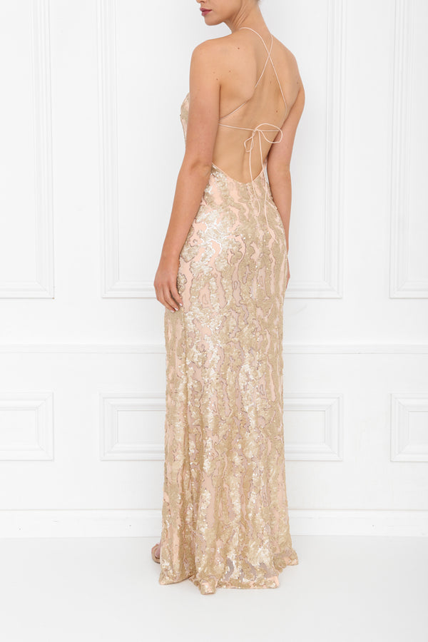 HARLEY PLEATHER MAXI GOLD BLUSH SIDE BACK 7X0A8399