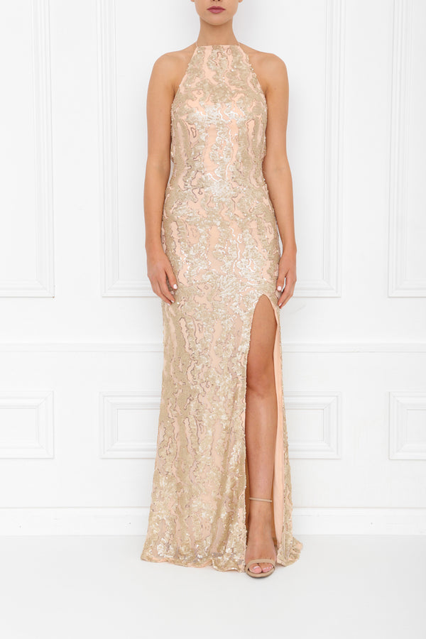 HARLEY PLEATHER SEQUIN MAXI GOLD BLUSH FRONT 7X0A8397