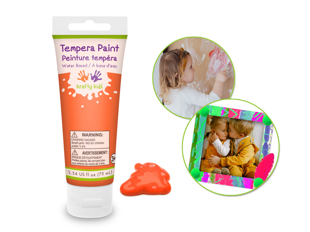 Kids Liquid Tempra Paint Tube - Orange