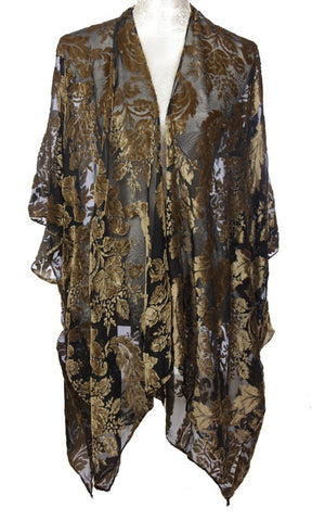 Velvet Kimono Wrap Jacket (One Size) Black and Gold