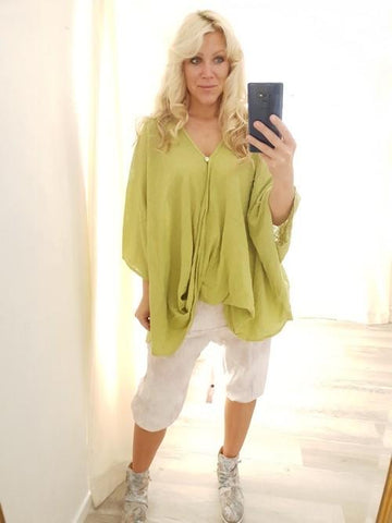Helga May Lime Crinkle Cotton Cover Up (O/S)