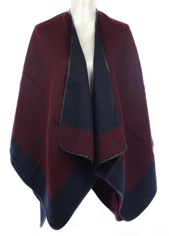 Reversible Wrap cape (One Size) Maroon / Navy