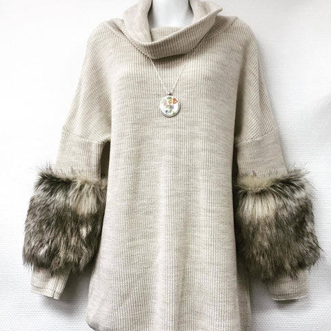 Sabatini Merino and Faux Fur Sweater (XS)