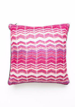 Sabatini Pink Knit Zigzag Cushion