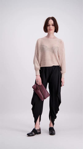 C.REED Knitted Woven Top Beige and Black (O/S)