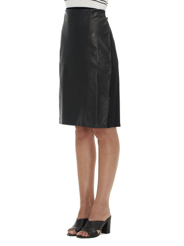 Sabatini Leather Front Black Skirt (S)