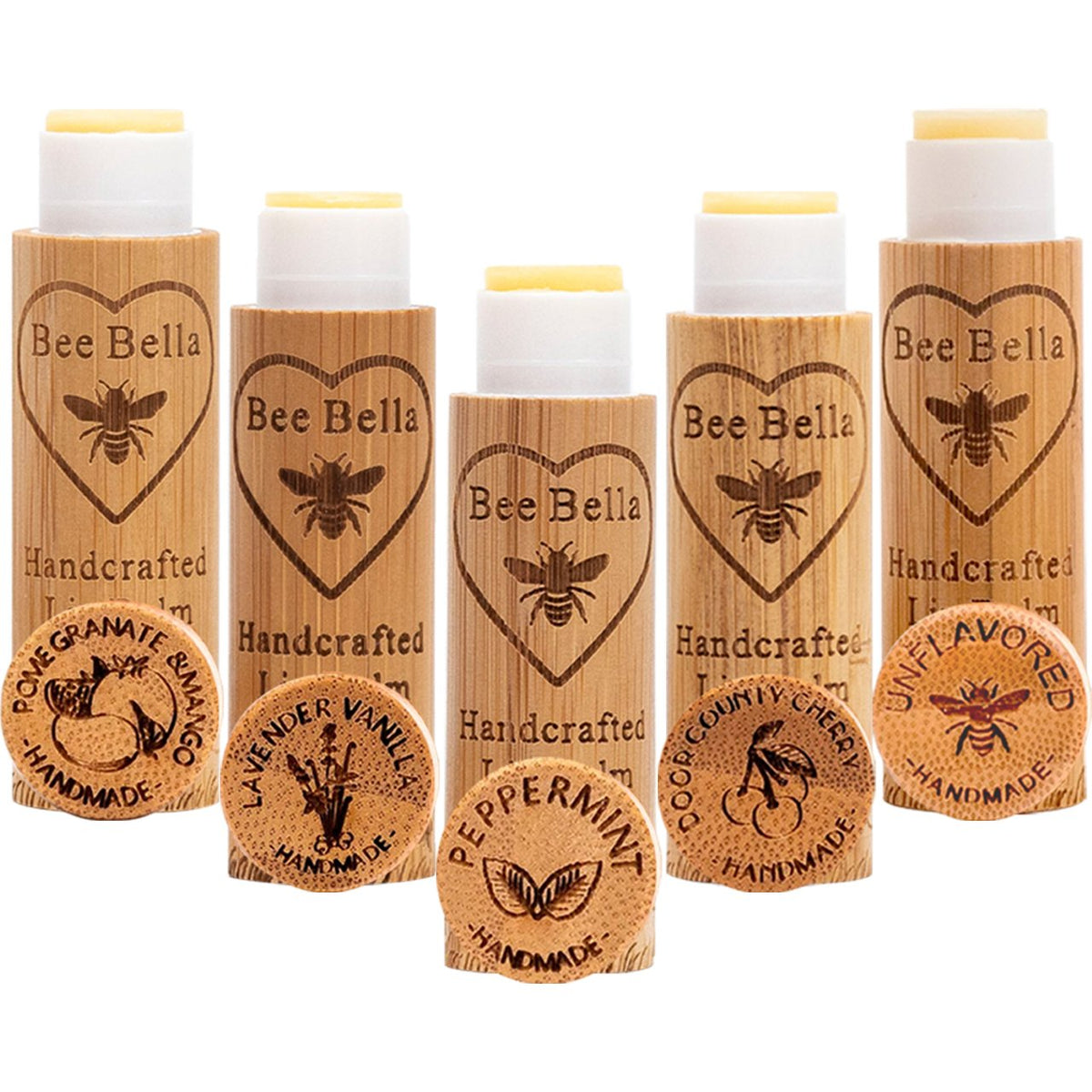 Bee Bella Five Flavours Labels Lip Balm