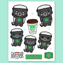 Load image into Gallery viewer, Bitcoin Cash BCH Honey Badger Sticker Sheet