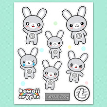 Load image into Gallery viewer, Litecoin LTC Bunny Sticker Sheet