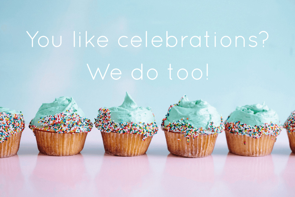 """You like celebrations? We do too"" Blue and pink colorful cupcakes with a nice pastel background."