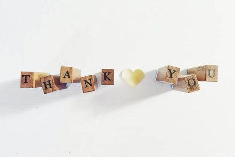 """The power of words + Thank You + JWLRY + Wooden blocks with letters on spelling out """" Thank you ❤"""""""
