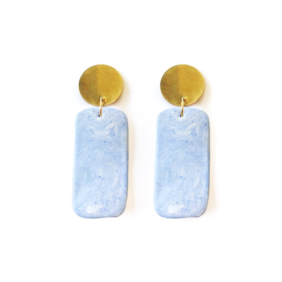 Sustainable Porcelain Rectangle Earrings