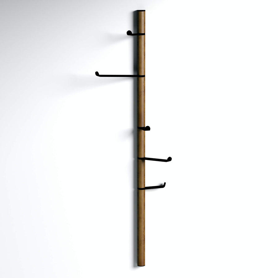 Tree of life - walnut modern wall mounted vertical coat rack