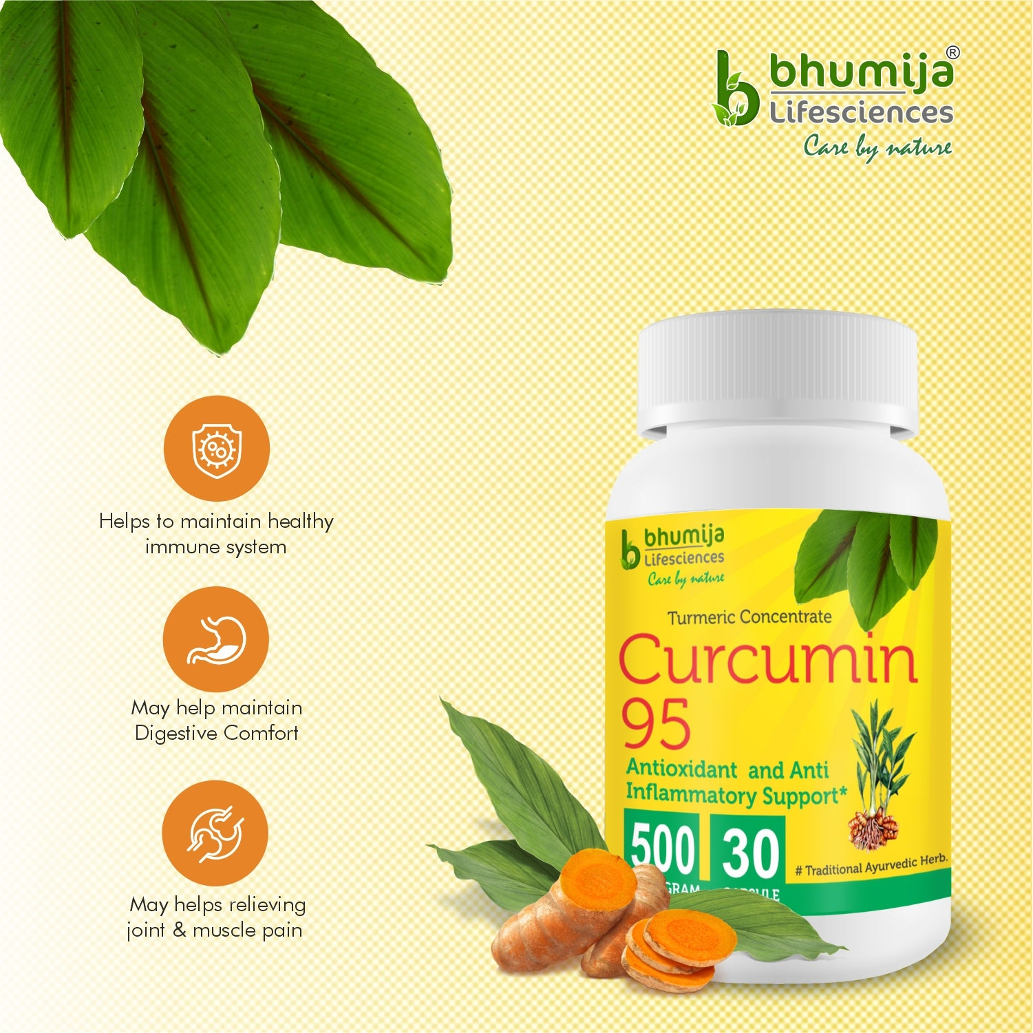 Bhumija Lifesciences Curcumin with Piper Nigram (Curcuma Longa)- 30 Capsules