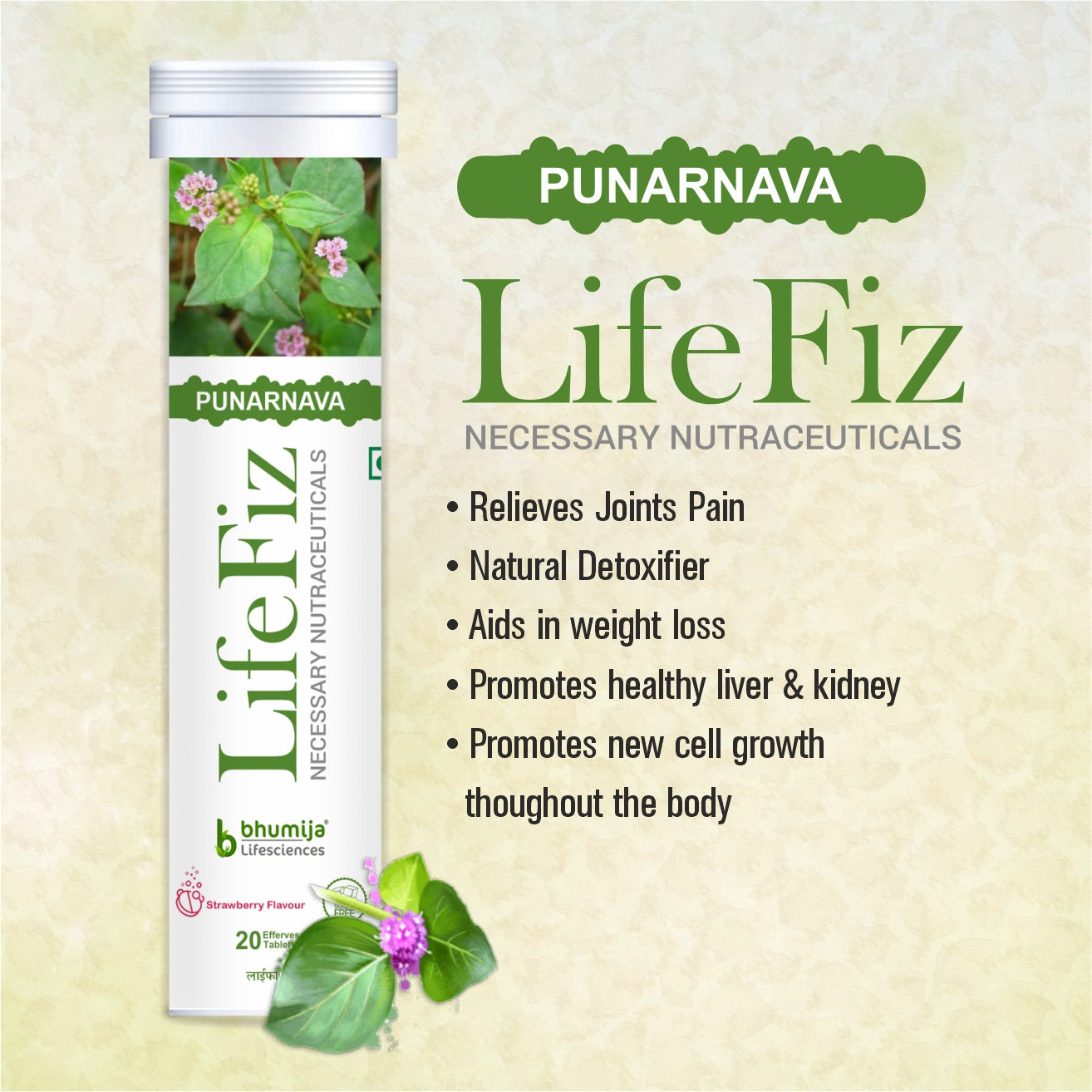 Bhumija Lifesciences Lifefiz Punarnava Vegetarian 20 Effervescent Tablets With Strawberry Flavour Pack of 1