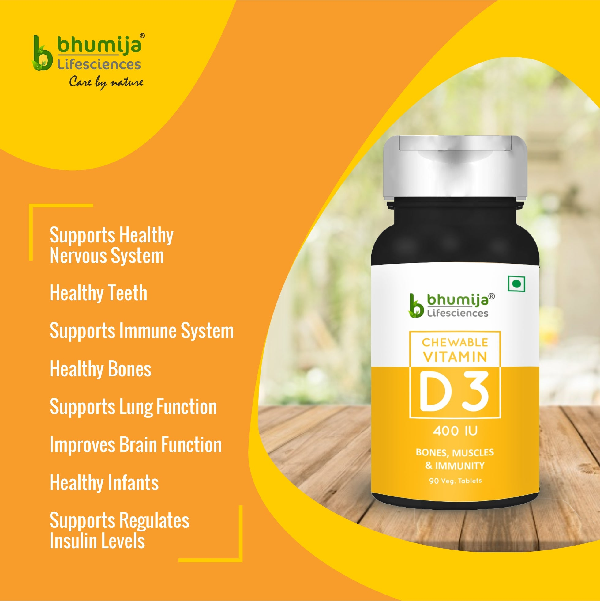 Bhumija Lifesciences Vitamin D3 Chewable Tablets for Stronger Bones and Immunity