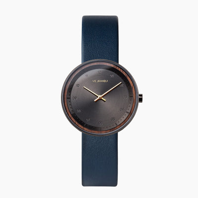 VEJRHØJのレディース腕時計 BLACK & GOLD - midnight blue strap