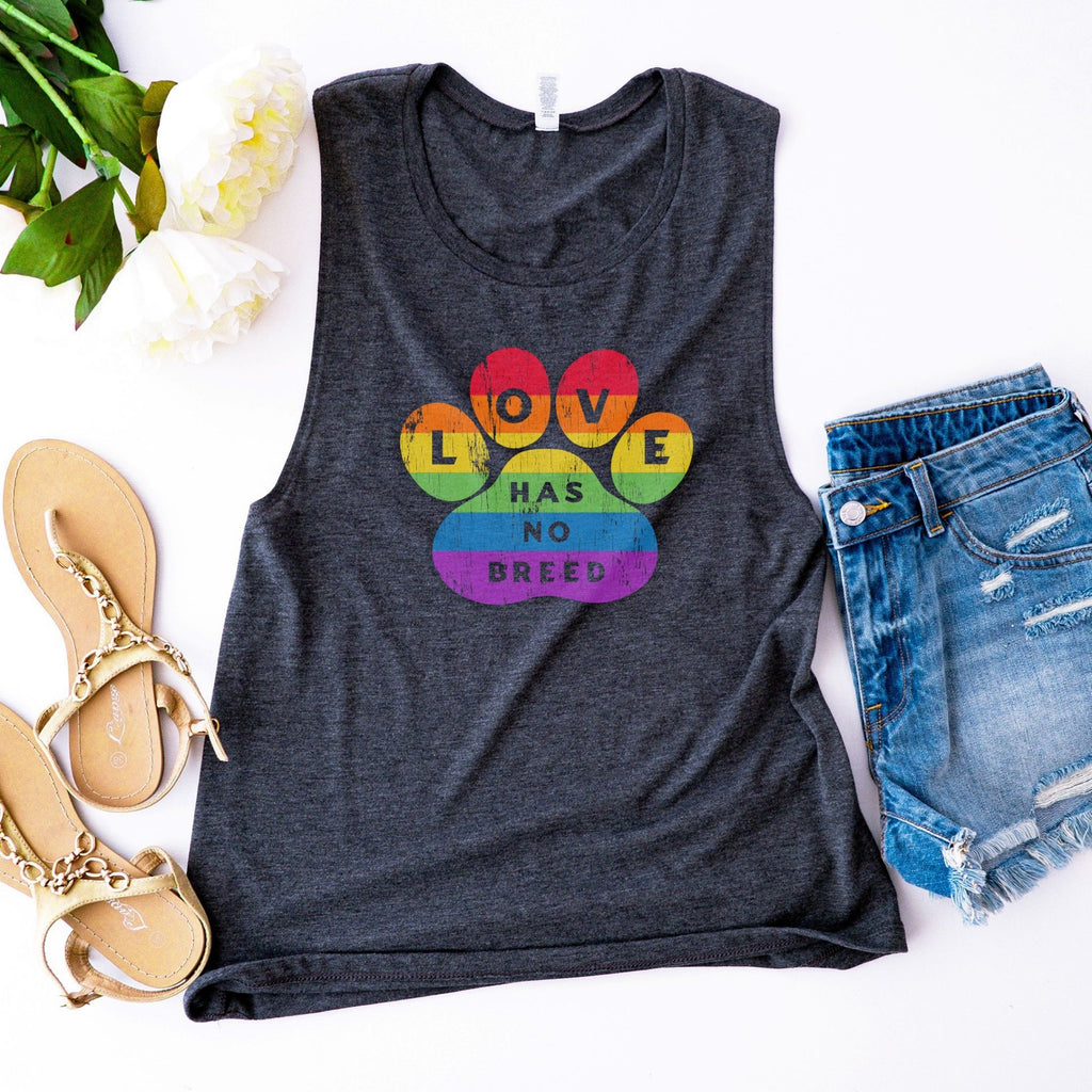 Love Has No Breed Flowy Scoop Muscle Tank