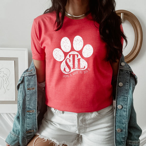 St. Louis White Paw Red T-Shirt