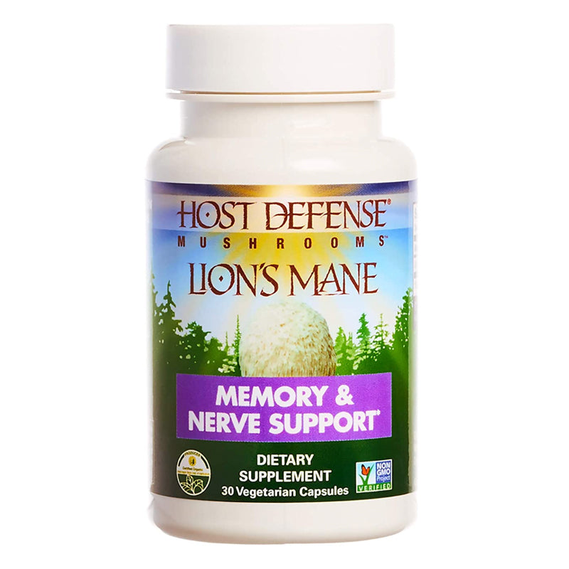 Host Defense, Lion's Mane Capsules, Promotes Mental Clarity, Focus and Memory, Daily Mushroom Supplement