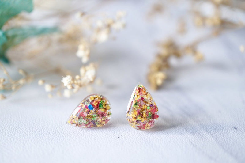 Real Dried Flowers Teardrop Stud Earrings