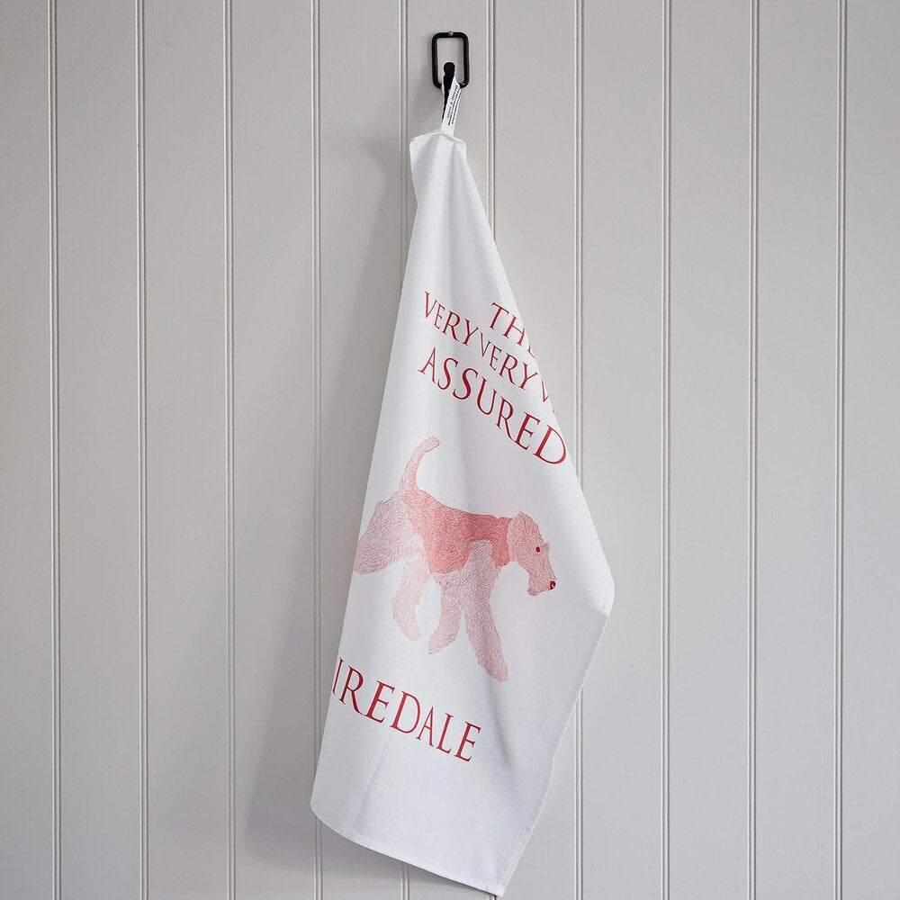 Airedale Terrier Linen Union Tea Towel Hanging