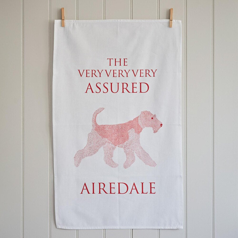 Airedale Terrier Linen Tea Towel