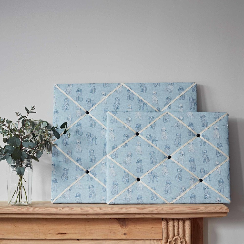 Cockapoo Blue Fabric French Memo Board