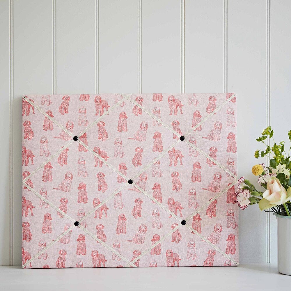 Cockapoo Pink Fabric French Memo Board