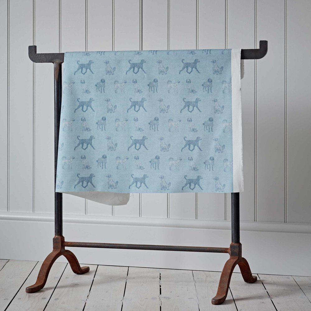 Labradoodle Blue Cotton Fabric