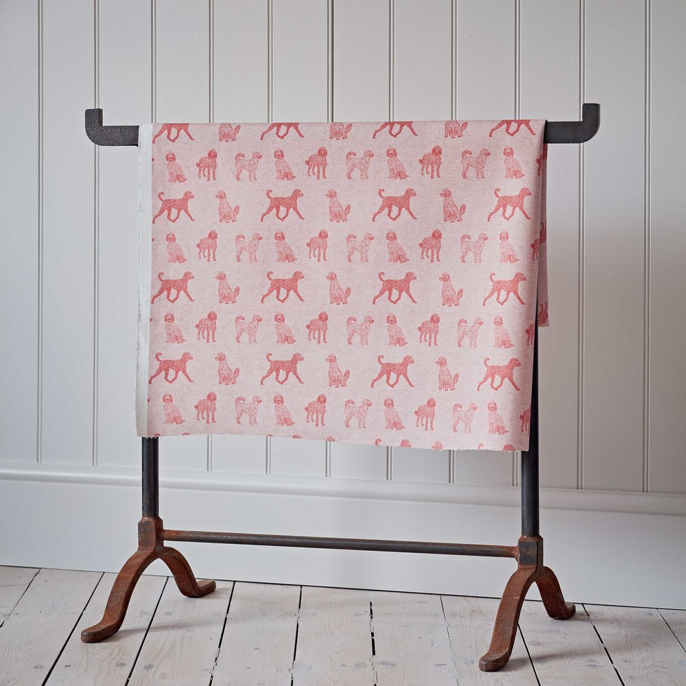 Labradoodle Pink Cotton Fabric