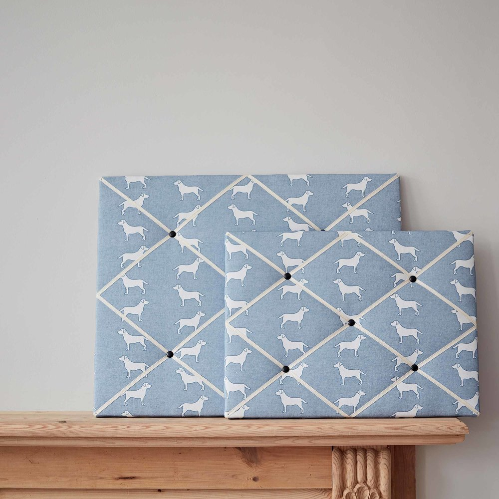 Labrador Blue Fabric French Style Memo board