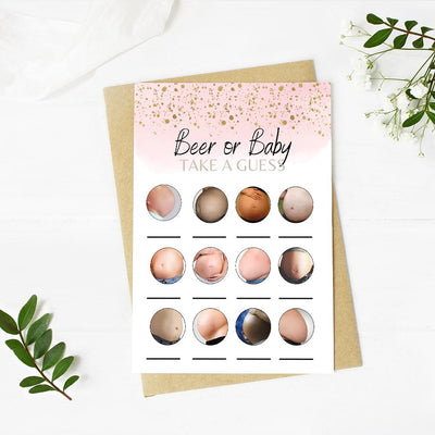 Baby or Beer Belly - Rose Gold | Baby Shower Game Your Party Games