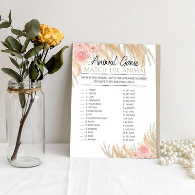 Boho Theme - Animal Games | Baby Shower Game Your Party Games