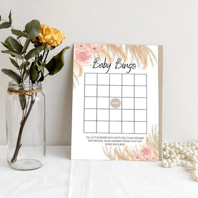 Boho Theme - Baby Bingo | Baby Shower Game Your Party Games