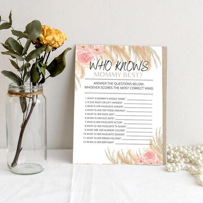 Boho Theme - Who Knows Mommy | Baby Shower Game Your Party Games
